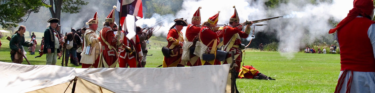 British Forces during a reenactment volley